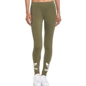 c5cdd46a153 adidas Pants   Trefoil Olive Green Leggings   Poshmark